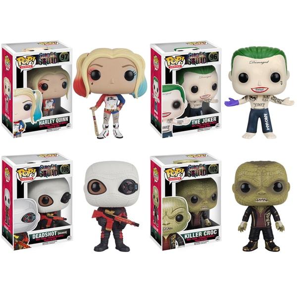 Funko Suicide Squad POP! Movie Collectors Harley Quinn, Joker Shirtless, Deadshot, Killer Croc Set