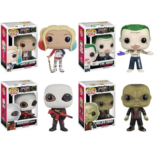 Funko Suicide Squad POP! Movie Collectors Harley Quinn, Joker Shirtless, Deadshot, Killer Croc Set