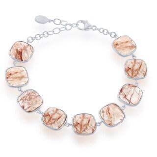 La Preciosa Sterling Silver Gemstone Square Link Bracelet
