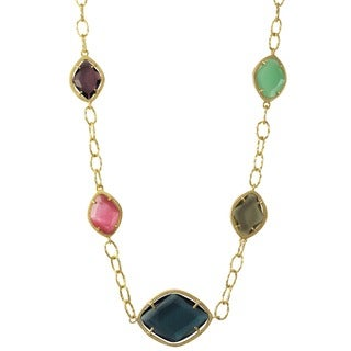 Luxiro Gold Finish Sterling Silver Multi-color Sliced Glass Necklace