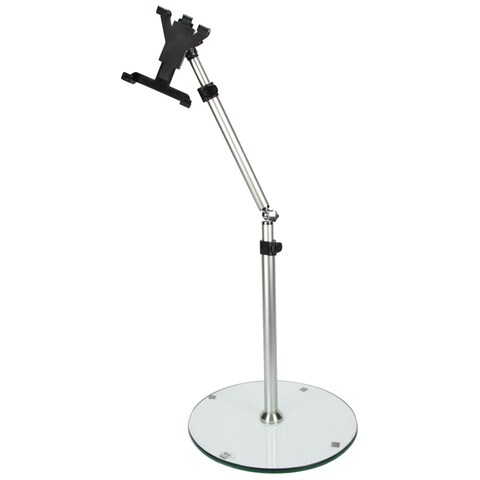 MegaMounts Black Height/Angle Adjustable Tablet Floor Stand for 7-inch to 12-inch Tablets