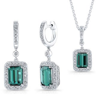 14k White Gold Green Tourmaline and Diamond Necklace and Earrings Set