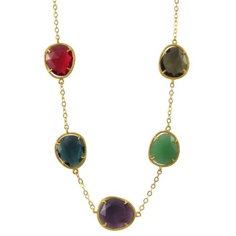 Luxiro Gold Finish Sterling Silver Multi-color Sliced Glass Necklace - Purple