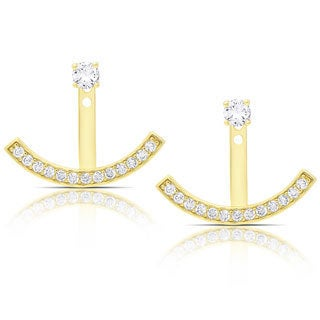 Dolce Giavonna Sterling Silver Cubic Zirconia Arc Jacket Earrings
