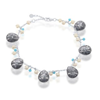 La Preciosa Sterling Silver Ice CZ Turquoise CZ and Freshwater Pearl Charm Bracelet (4 options available)