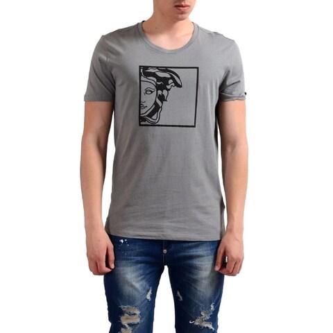 Versace Men's Collection Half Medusa Grey Cotton T-shirt
