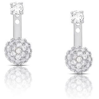 Dolce Giavonna Gold Over Silver or Sterling Silver Cubic Zirconia Ball Jacket Earrings (3 options available)
