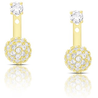 Dolce Giavonna Gold Over Silver or Sterling Silver Cubic Zirconia Ball Jacket Earrings