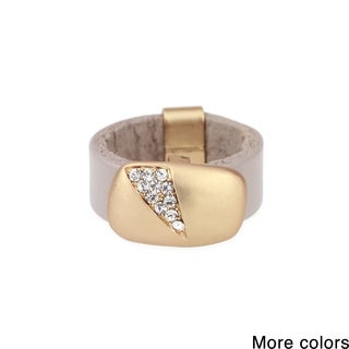 Handmade Saachi Sliced Crystal Leather Ring (China)