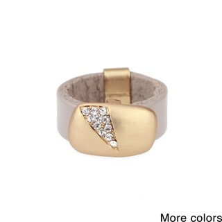 Saachi Sliced Crystal Leather Ring (China)