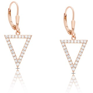 Dolce Giavonna Rose Gold Over Silver or Sterling Silver Cubic Zirconia Triangle Dangle Earrings