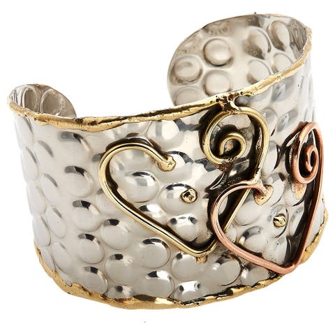 Handmade Artisan Tri-color Stainless Steel Infinity Heart Cuff Bracelet (India)
