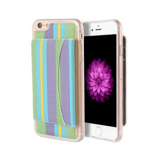 Apple Iphone 6/6S Colorful Stripe TPU/Leather Wallet Case with ID Window Card Holders and Kick Stand