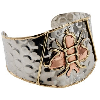 Handmade Artisan Tri-color Stainless Steel Bumble Bee Cuff Bracelet (India)
