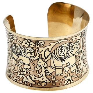 Handcrafted Artisan Metal Embossed Elephant Cuff Bracelet (India)