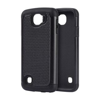 LG K4 Spree Optimus Zone 3 Black Plastic Grippy Hybrid Case