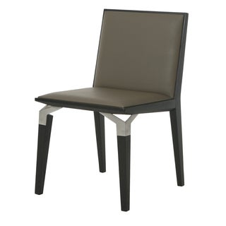 Tarifa Taupe/Silver Veneer/Stainless Steel/Synthetic Leather Side Chair