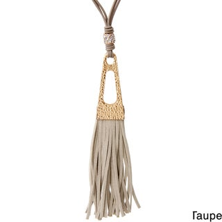 Saachi Suede Tassel Metal Pendant Leather Necklace (China)