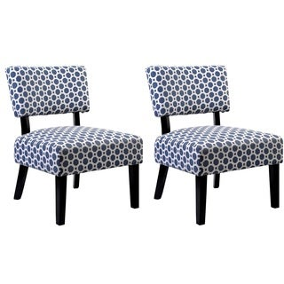 US Pride Furniture Charlotte Multicolor Fabric Accent Chairs with Solid Wood Legs (Set of 2)