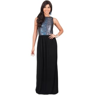 Koh Koh Women's Metallic Sleeveless Party Maxi Dress Going Out Glitter Gown