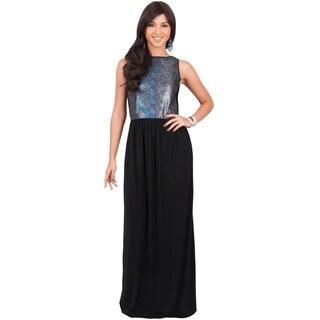 Koh Koh Women's Metallic Sleeveless Party Maxi Dress Going Out Glitter Gown