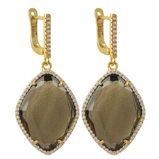 Luxiro Gold Finish Sterling Silver Cubic Zirconia Sliced Glass Teardrop Earrings
