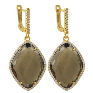 Luxiro Gold Finish Sterling Silver Cubic Zirconia Sliced Glass Teardrop Earrings - White