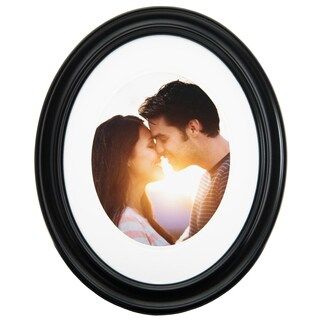 Gallery Solutions Matte Black Plastic 11-inch x 14-inch Oval Frame for 8-inch x 10-inch Photo