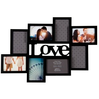 Gallery Solutions 'LOVE' Cutout Black Wood 8-opening Collage Frame