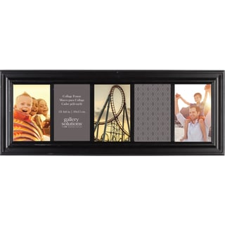 Gallery Solutions Black Wood 6-inch x 20-inch 5-opening Linear Collage Frame