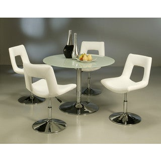 Dublin Chrome Finish Steel and Off-White Polyurethane Side Chair