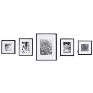 Gallery Solutions Black Wood 5-piece Wall Kit