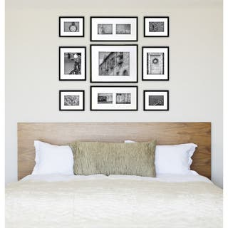 gallery perfect black wood 9 piece frame kit - White Wood Picture Frames