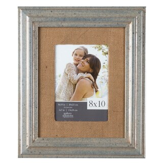 Silver Pewter With Burlap Mat Frame