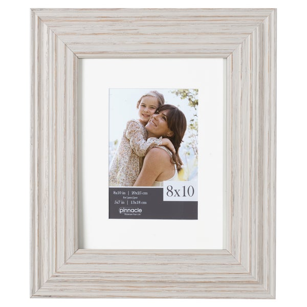 Shop Whitewashed Wood Wide Matted Gallery Frame Free Shipping On