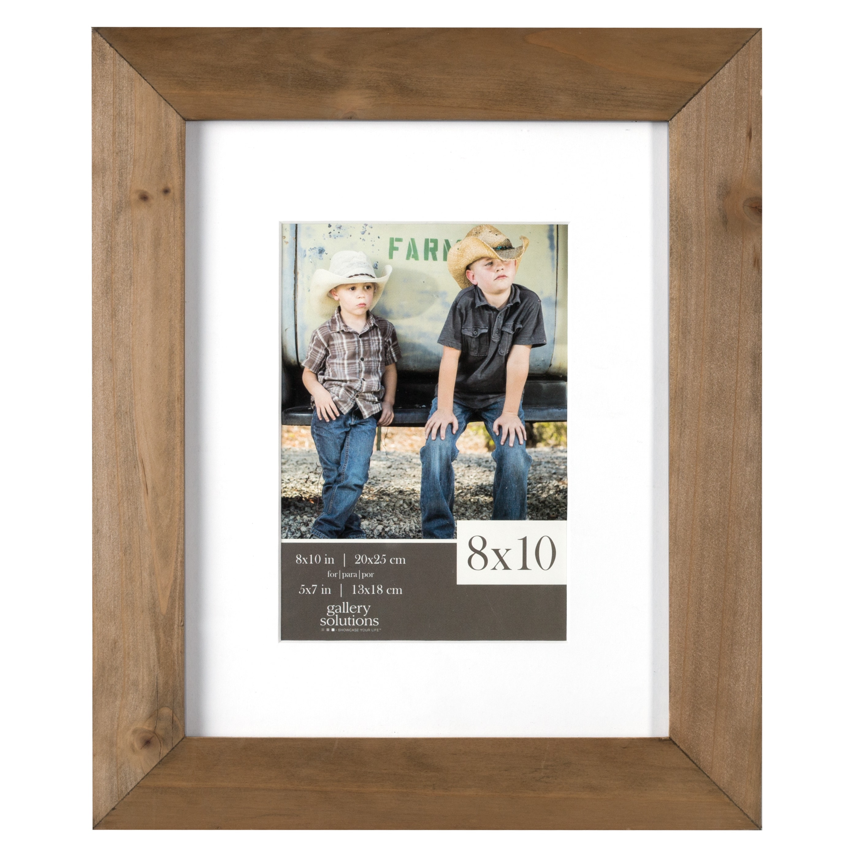 Gallery Solutions Brown Rustic Wood Matted Gallery Frame ...
