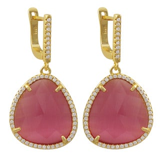 Luxiro Gold Finish Sterling Silver Cubic Zirconia Sliced Glass Teardrop Earrings (2 options available)