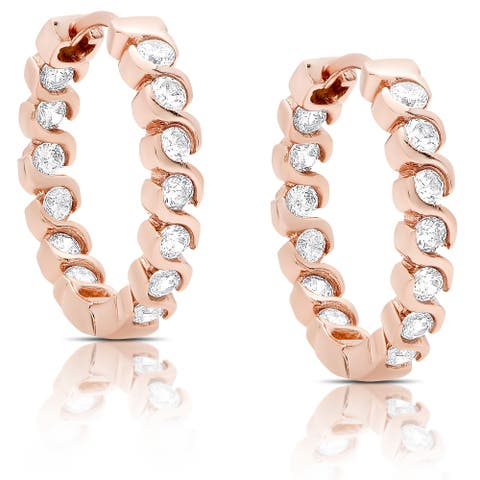 Dolce Giavonna Rose Gold Over Silver or Sterling Silver Cubic Zirconia Hoop Earrings