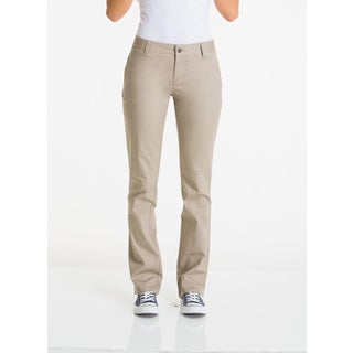 Lee Juniors' Khaki Cotton and Spandex Original Straight Leg Pant