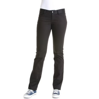 Lee Juniors' Black Cotton and Spandex Original Straight Leg Pants