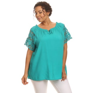 "Hadari Woman""s Plus size lace sleeve top"