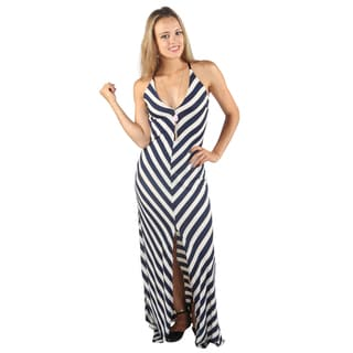 Hadari Womens Black and white striped Halter back crossed maxi dress with slit down the middle