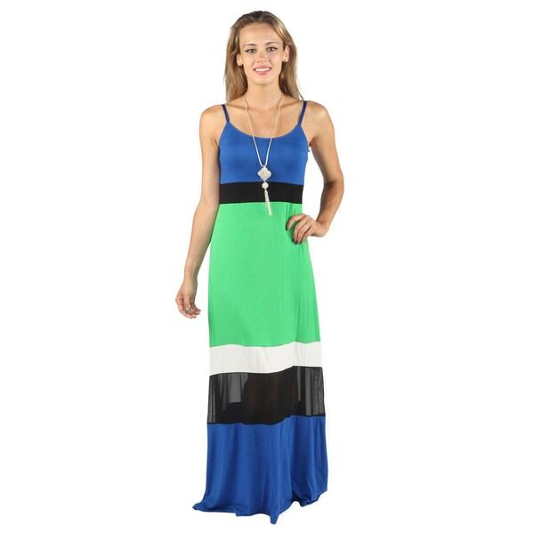 4df8d83c1a478 Shop Hadari Womens Casual Green spaghetti strap Mid round neckline ...