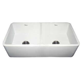 Duet Fireclay Reversible Double Bowl Sink With Smooth Front Apron - White