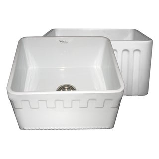 Reversible Series Fireclay Farmhouse Sink with One Athinahaus Front Apron Side and One Fluted Front Apron Side