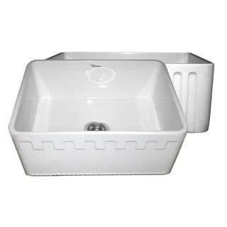 Fireclay Reversible Sink with Athinahaus and Fluted Front Aprons - White