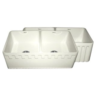 Fireclay Reversible Double-bowl Sink with Athinahausa and Fluted Front Aprons