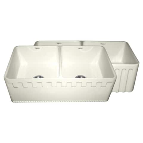 Fireclay Reversible Double-bowl Sink with Athinahausa and Fluted Front Aprons - Biscuit