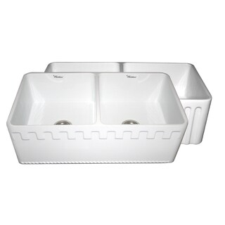 Fireclay Reversible Double Bowl Sink with Athinahaus and Fluted Front Aprons - White
