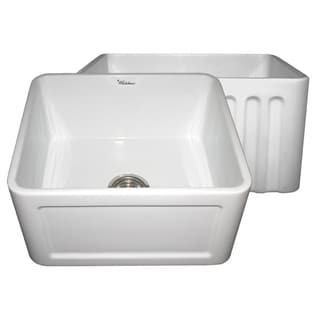 Reversible Series Fireclay Farmhouse Sink with One Concave Front Apron Side and One Fluted Front Apron Side